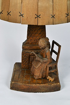 Carved Wooden Lamp with Wood Shade