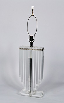Pair of Lucite Lamps with Black Shades